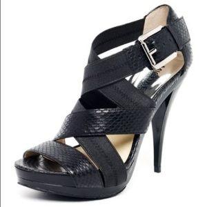 Womens Black Carina Snake-Embossed Leather Sandal